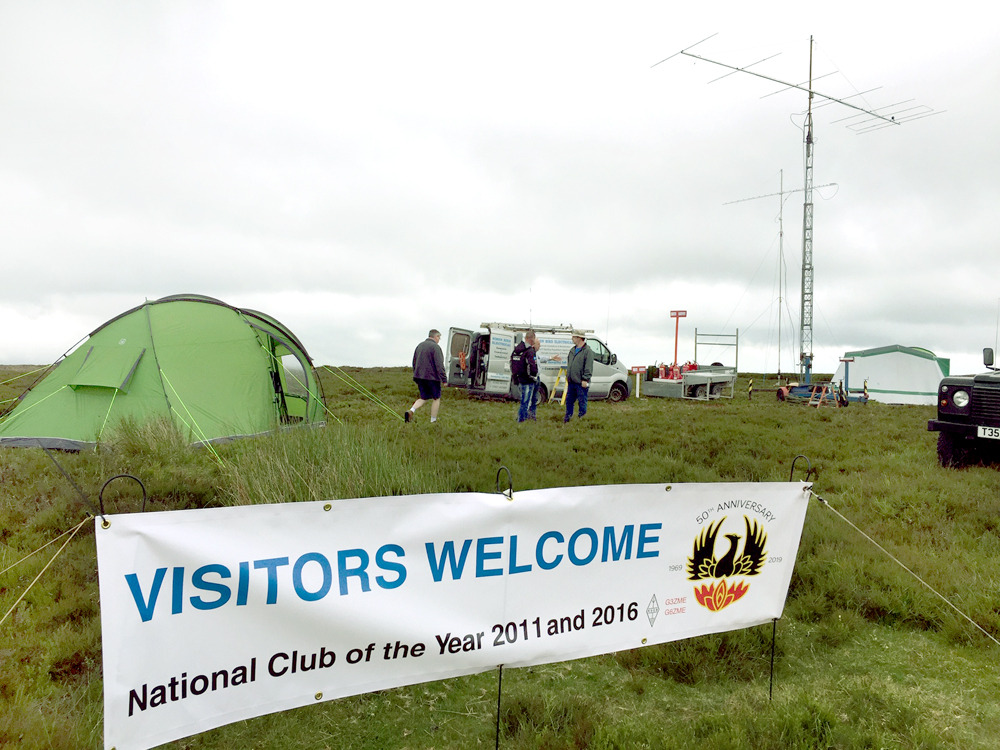 Visitors are welcome notice on the TDARS banner as shows by the stations on top of the Long Mynd