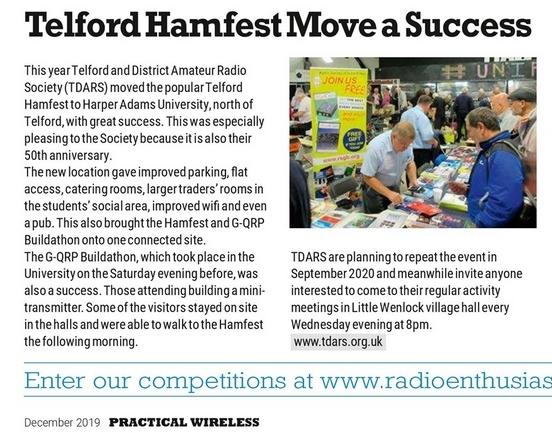 Telford Hamfest good fature in December Practical Wireless