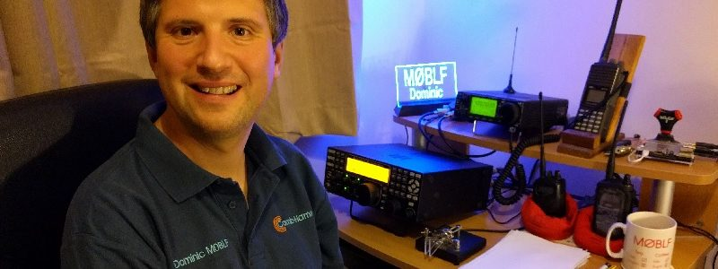 Dom Smith M0BLF sitting in front of his radio gear