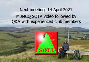 SOTA themed meeting advert TDARS 14 April 2021 via webex