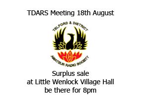 Surplus Sale at Little Wenlock Voillage hall 8pm 18th August 2021