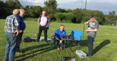 TDARS members chatting in the villages football fields while waiting to contact Paul ON/M0PLA for a sota contact